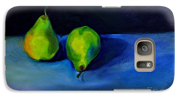 Galaxy Case featuring the painting Pears Space Between by Daun Soden-Greene