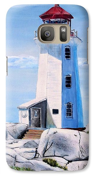 Galaxy Case featuring the painting Peggy's Cove Lighthouse by Marilyn  McNish