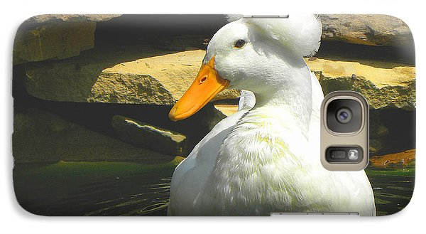 Galaxy Case featuring the photograph Pekin Pop Top Duck by Sandi OReilly