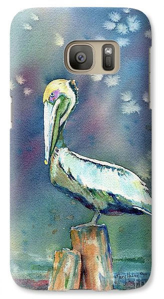 Galaxy Case featuring the painting Pelican by Mary Haley-Rocks