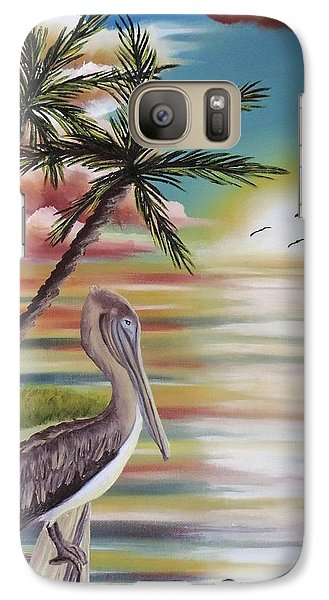 Galaxy Case featuring the painting Pelican Sunset by Dianna Lewis