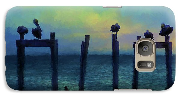 Galaxy Case featuring the photograph Pelicans At Sunset by Jan Amiss Photography