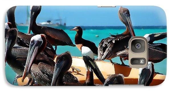 Pelicans On A Boat Galaxy Case by Bibi Romer