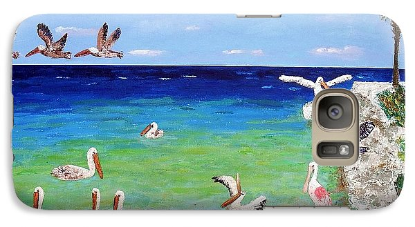 Galaxy Case featuring the painting Pelicans by Vicky Tarcau