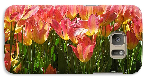 Galaxy Case featuring the photograph Pella Tulips Yellow Pink by Peg Toliver