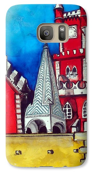 Galaxy Case featuring the painting Pena Palace In Portugal by Dora Hathazi Mendes