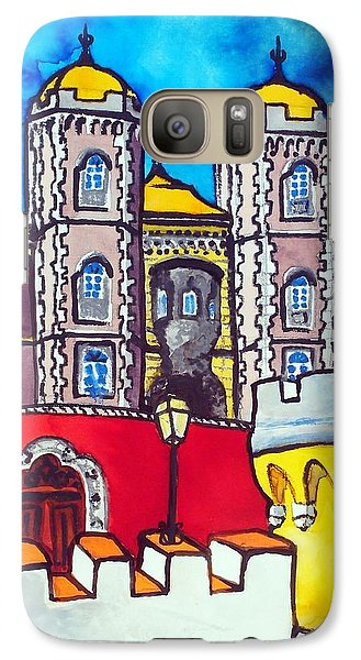 Galaxy Case featuring the painting Pena Palace In Sintra Portugal  by Dora Hathazi Mendes