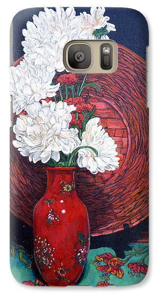 Galaxy Case featuring the painting Peonies For Nana by Tom Roderick