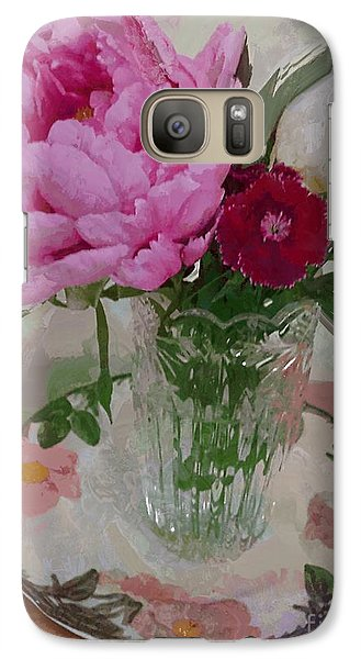 Galaxy Case featuring the digital art Peonies With Sweet Williams by Alexis Rotella