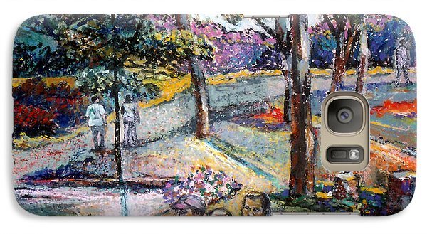 Galaxy Case featuring the pastel People In Landscape by Stan Esson