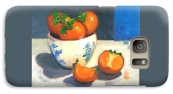 Galaxy Case featuring the painting Persimmons by Susan Thomas