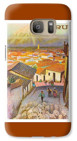 Llama Galaxy S7 Case - Peru El Misti Volcano Vintage Travel Poster by Retro Graphics