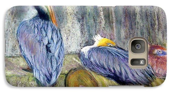 Galaxy Case featuring the pastel Peruvian Pelicans Three Pastel by Antonia Citrino