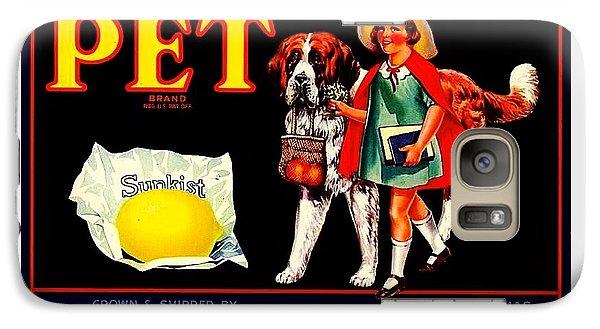 Galaxy Case featuring the painting Pet Saint Bernard 1920s California Sunkist Lemons by Peter Gumaer Ogden
