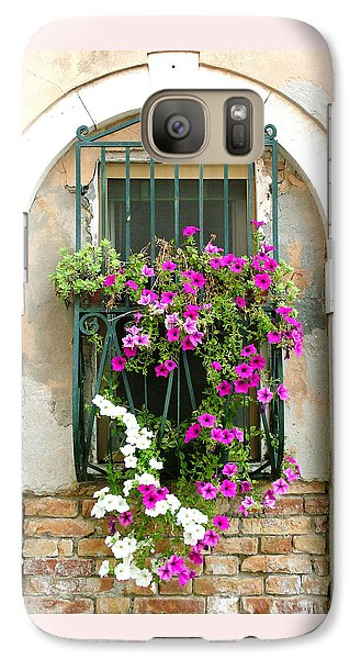 Galaxy Case featuring the photograph Petunias Through Wrought Iron by Donna Corless