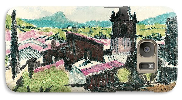 Galaxy Case featuring the painting Peyruis Village In Provence by Martin Stankewitz
