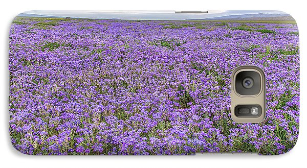 Galaxy Case featuring the photograph Phacelia Field And Clouds by Marc Crumpler