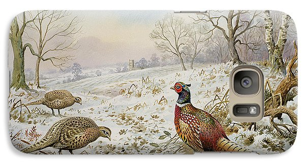 Pheasant And Partridges In A Snowy Landscape Galaxy S7 Case