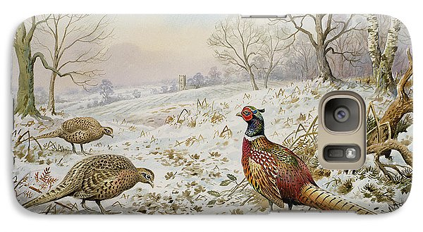 Pheasant And Partridges In A Snowy Landscape Galaxy Case by Carl Donner