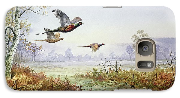 Pheasants In Flight  Galaxy Case by Carl Donner