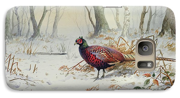 Pheasants In Snow Galaxy Case by Carl Donner