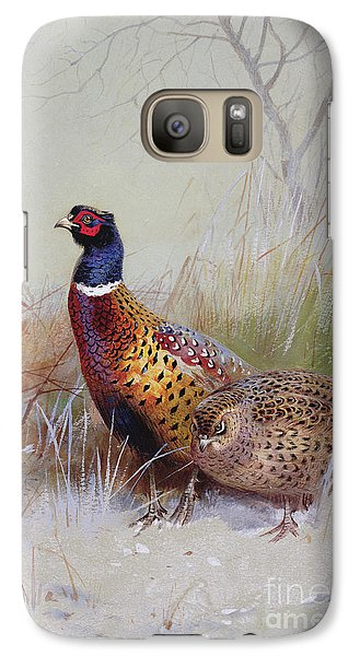 Pheasants In The Snow Galaxy S7 Case by Archibald Thorburn