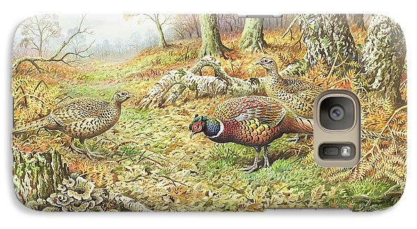Pheasants With Blue Tits Galaxy Case by Carl Donner