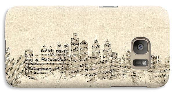 Philadelphia Skyline Galaxy S7 Case - Philadelphia Pennsylvania Skyline Sheet Music Cityscape by Michael Tompsett