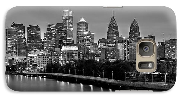 Galaxy Case featuring the photograph Philadelphia Philly Skyline At Dusk From Near South Bw Black And White Panorama by Jon Holiday