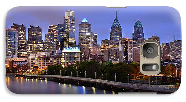 Galaxy Case featuring the photograph Philadelphia Philly Skyline At Dusk From Near South Color Panorama by Jon Holiday