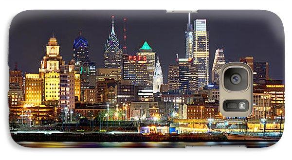 City Scenes Galaxy S7 Case - Philadelphia Philly Skyline At Night From East Color by Jon Holiday