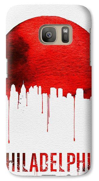 Philadelphia Skyline Redskyline Red Galaxy S7 Case by Naxart Studio