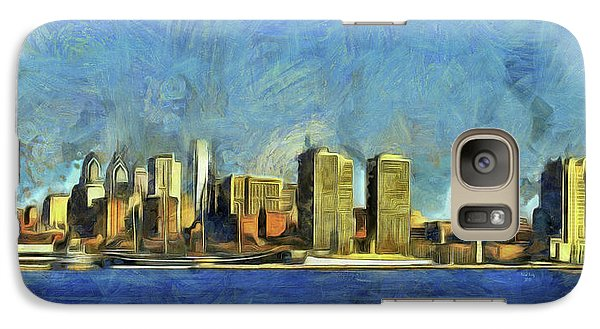 Galaxy Case featuring the mixed media Philly Skyline by Trish Tritz