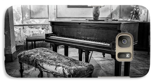 Galaxy Case featuring the photograph Piano At Josie's House Bw by Joan Carroll