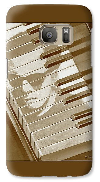 Galaxy Case featuring the painting Piano Man In Sepia by J L Meadows