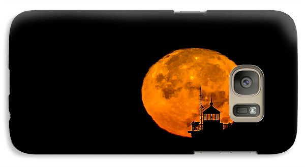 Galaxy Case featuring the photograph Pierhead Supermoon Silhouette by Everet Regal