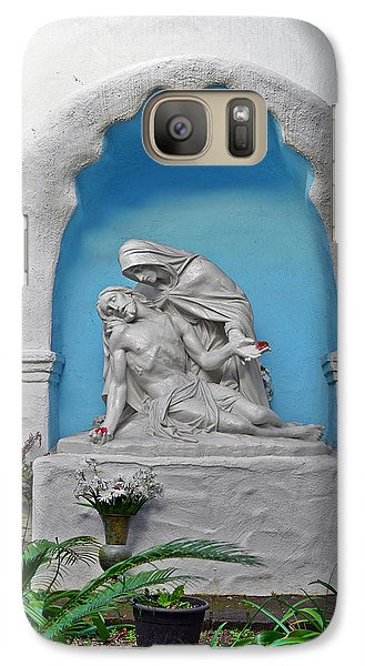 Galaxy Case featuring the photograph Pieta Garden Mission Diego De Alcala by Christine Till