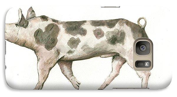 Pig Galaxy S7 Case - Pietrain Pig by Juan Bosco