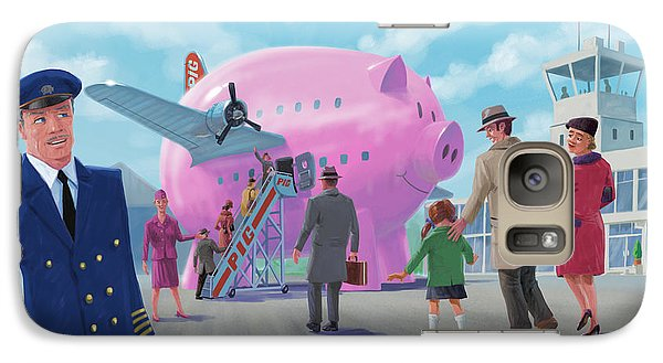 Galaxy Case featuring the digital art Pig Airline Airport by Martin Davey