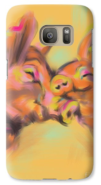 Galaxy Case featuring the painting Piggy Love by Go Van Kampen