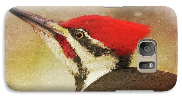 Galaxy Case featuring the photograph Pileated Woodpecker With Snowfall by Heidi Hermes