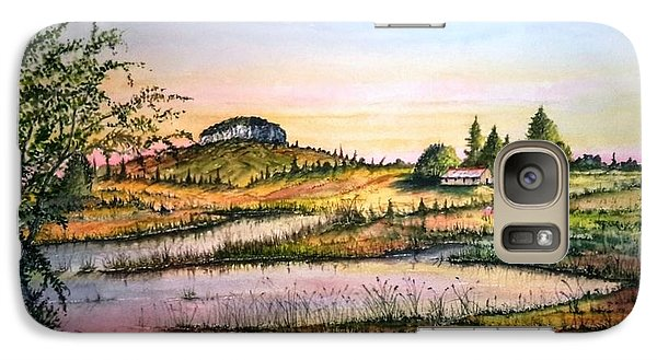 Galaxy Case featuring the painting Pilot Mountain And Farm Ponds by Richard Benson