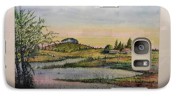 Galaxy Case featuring the painting Pilot Mountain And Pond by Richard Benson