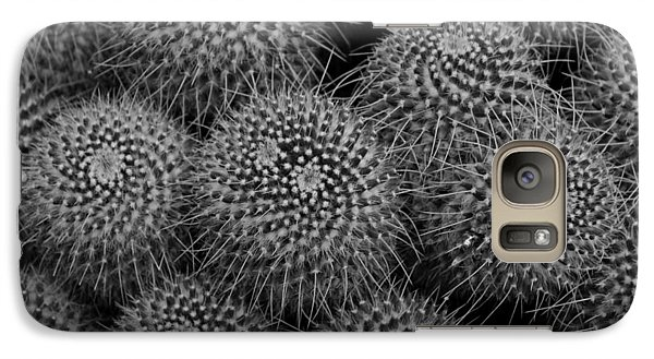 Galaxy Case featuring the photograph Pincushion Cactus In Black And White by Michiale Schneider