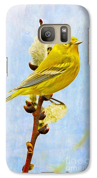 Warbler Galaxy S7 Case - Pine Warbler On Willow Catkin by Laura D Young