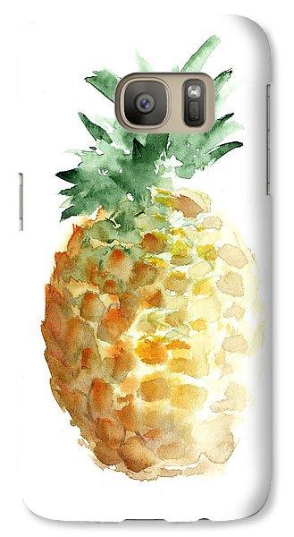 Pineapple Watercolor Minimalist Painting Galaxy Case by Joanna Szmerdt