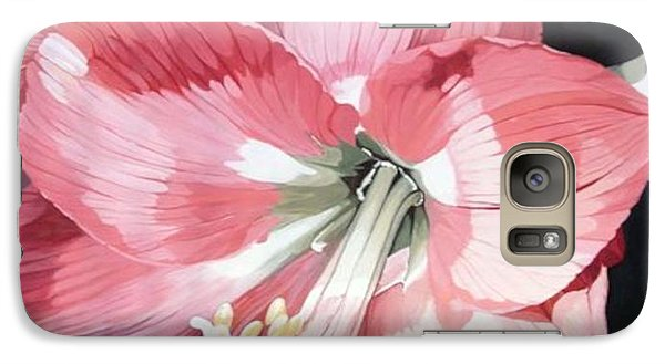Galaxy Case featuring the painting Pink Amaryllis by Laurie Rohner