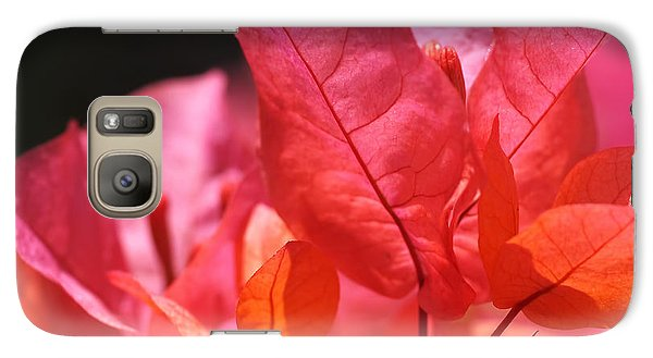 Pink And Orange Bougainvillea - Square Galaxy Case by Rona Black