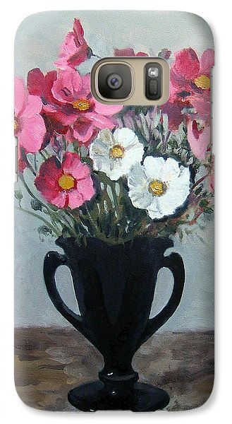 Pink And White Cosmos In Black Milk Glass Vase Galaxy S7 Case