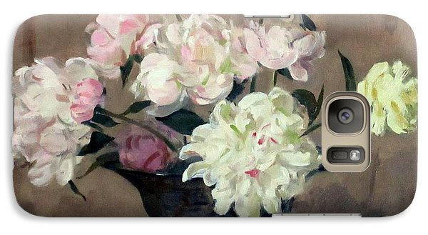 Pink And White Peonies In Footed Silver Bowl Galaxy S7 Case